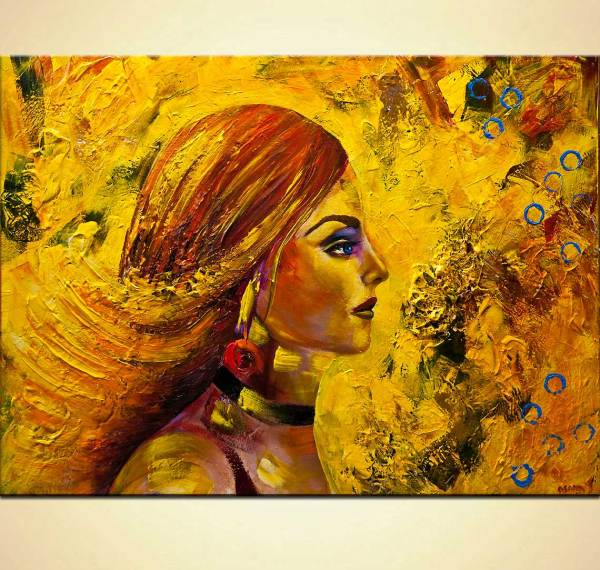 Painting - Modern Yellow Portrait Woman Abstract #9164