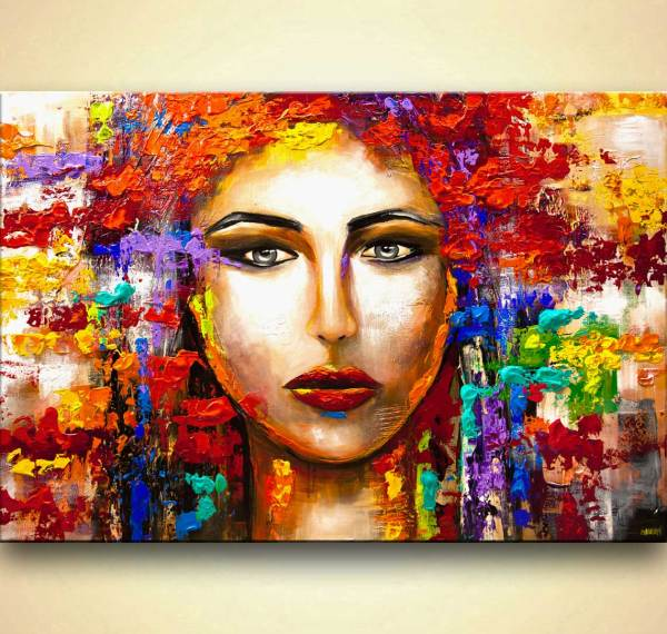 Colorful Woman Portrait Large Textured Abstract Art #9234