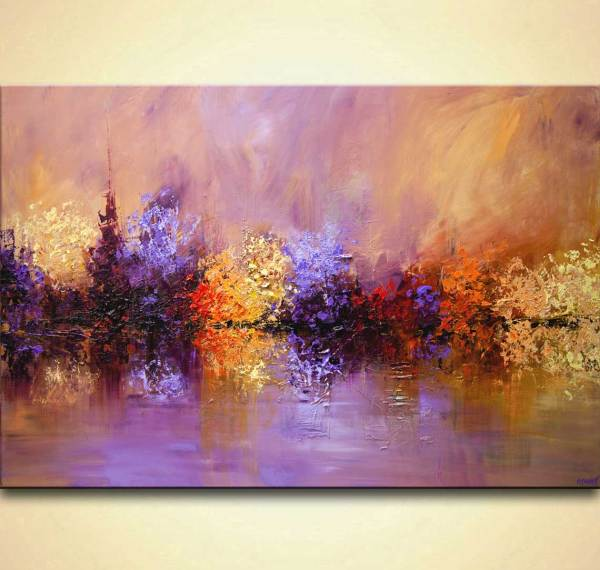 Painting - Large Modern Textured Landscape Lavender Blooming Trees #9230