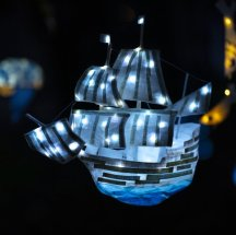 Jess Kemp, Mayflower 400 lantern for Gainsborough Illuminate 2020, mixed media. Photo by Electric Egg