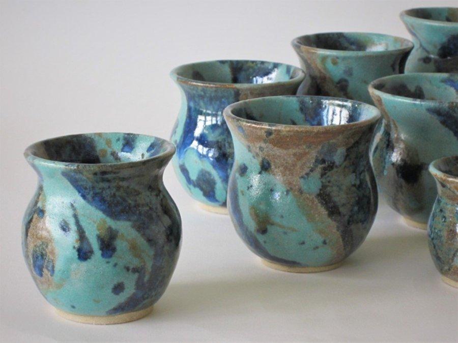 Sarah Burton - Collection of turquoise ceramic vases