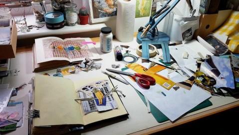 Mandy Bray - studio bench, collaging
