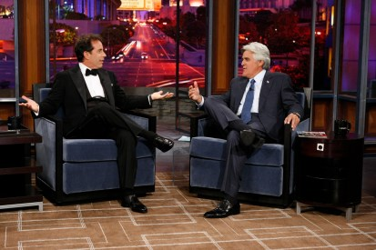 THE JAY LENO SHOW -- Pictured: (l-r) Jerry Seinfeld, Jay Leno -- NBC Photo: Justin Lubin