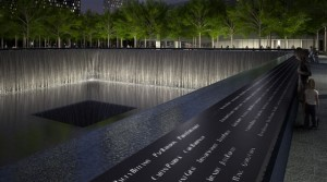 9_11Memorial Pool Names Parapet Night. Rendering Squared Design Lab