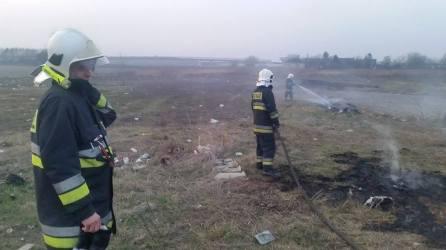 Pożar trawy przy ul. Hallera