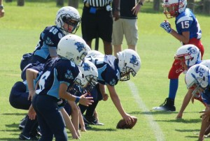 Mitey-Mites offense gets ready to execute a play led by quaterback, Riley King (18).