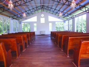 A non-denominational chapel was recently built at Cross Creek Ranch to be used for those wishing to hold their ceremony indoors.