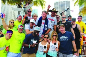 Kevin Humphrey (wearing the white baseball hat) and his identical twin brother, Keith Humphrey (wearing the sheriff's hat) along with some friends competed in this year's Red Bull Flugtag Day in Miami.