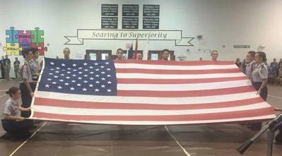 Newsome JROTC Cadets present the American Flag at last year's assemblies.