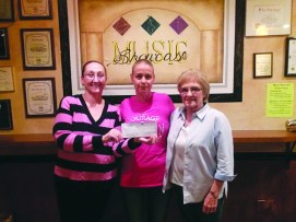 A $1640 check was presented to breast cancer patient Sherry Newton-Jackson on November 8 by Paula Gaskin and Joyce Baker.