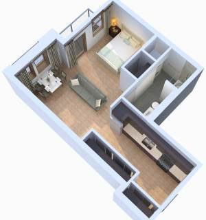 Studio / 1 Bath / 586 sq ft / Starting At: $1,234