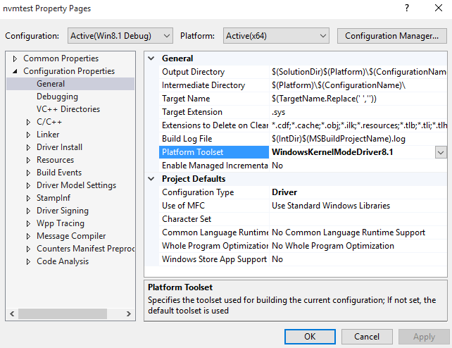 Figure 1—Using VS 2015…but building drivers with the VS 2013 tools
