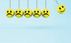 Happy And Sad Smileys Shows Positive Negative Emotions
