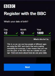 Register BBC account
