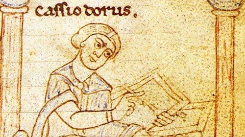 Cassiodoro raffigurato in un codice miniato dell'VIII secolo (Bambergensis Patr. 61)