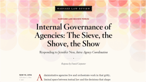 US, Debating Internal Governance of Agencies