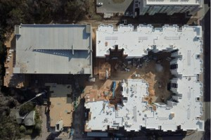 The Nine apartment community construction project aerial view
