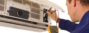 servicing an air conditioner
