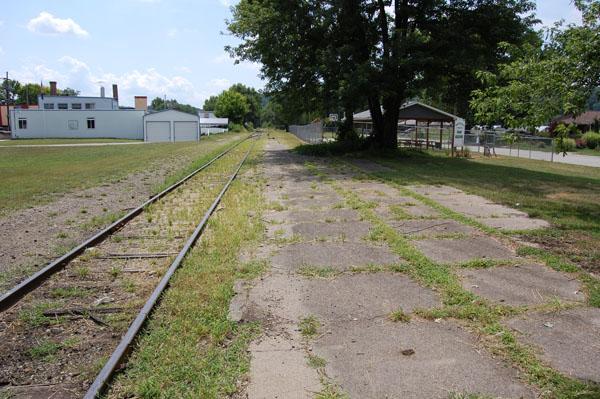 Abandoned station platform in West Harrison, IN