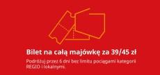BILET POLREGIO 39/45 ZŁ WAŻNY BĘDZIE PRZEZ CAŁĄ MAJÓWKĘ BEZ LIMITU