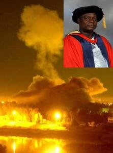 embattled 'Governor' Oyinlola (inset) in the midst of a bomb blast scandal