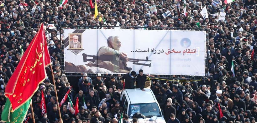Mourners attend a funeral procession for Iranian Maj. Gen. Qassem Soleimani and Iraqi militia commander Abu Mahdi al-Muhandis in Tehran, Iran, Jan. 6, 2020.