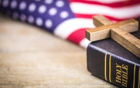 Christian Cross and Bible American Concept
