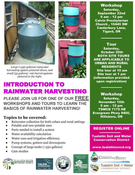 Please join us for one of our FREE workshops and tours to learn the basics of rainwater harvesting! Topics to be covered: Rainwater collection for both urban and rural settings Potable and non-potable uses Parts needed to install a system Water availability calculation Water uses and irrigation efficiency Pump systems, gutters and downspouts Concept of large tanks (>550 gallons) Case studies REGISTER ONLINE at https://www.swcd.net/events/list/