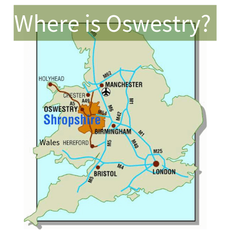 Locator map Oswestry & The Borderlands