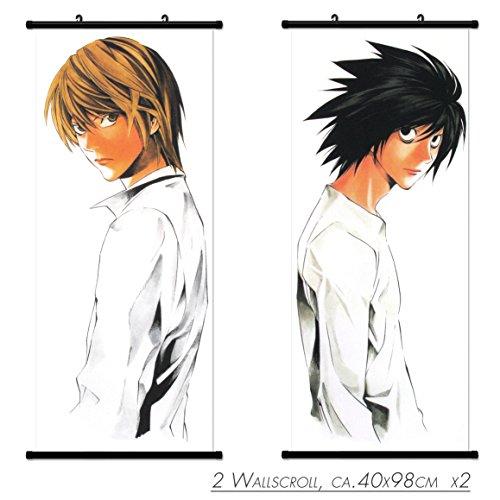 2 Kakemono Wandbanner Wallscroll Death Note und Light Rollbild Wandbild Stoff Poster Anime Manga