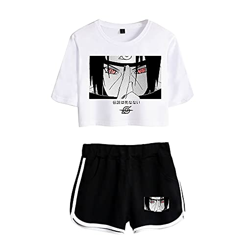 Sommer Naruto T-Shirt+Kurz Sets Damen Anime Set Uchiha Sasuke Shirts und Shorts Outfits Anime-Cosp