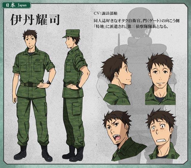 Yoji Itami, o líder otaku do grupo da Força de Auto-Defesa enviado para o novo mundo