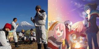 Trabalhadores de Fujinomiya recriam poster do anime YuruCamp△