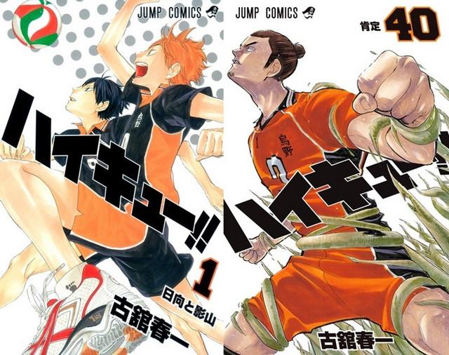 Capas dos volumes 1 e 40 de Haikyu!!