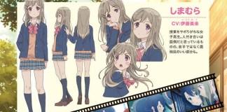 Design de personagens da série anime yuri Adachi to Shimamura