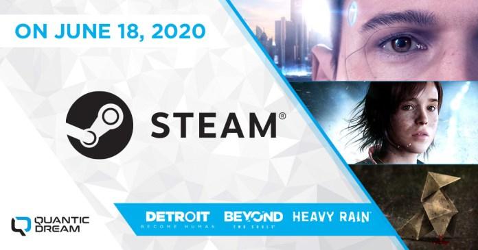 Heavy Rain, Beyond: Two Souls e Detroit: Become Human no Steam a 18 de Junho
