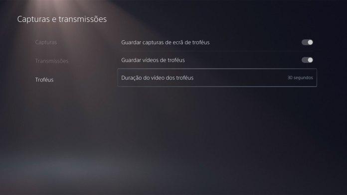 Screenshot do menun do vídeo de troféus Playstation 5