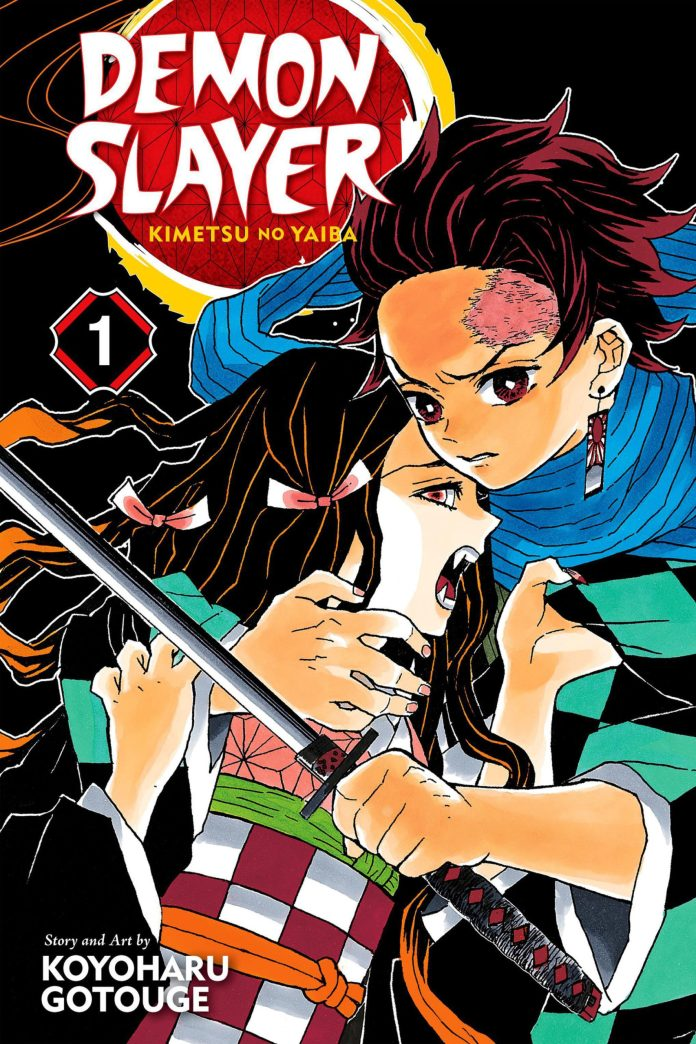 Capa do volume 1 do mangá mangá Kimetsu no Yaiba (Demon Slayer) de Koyoharu Gotouge