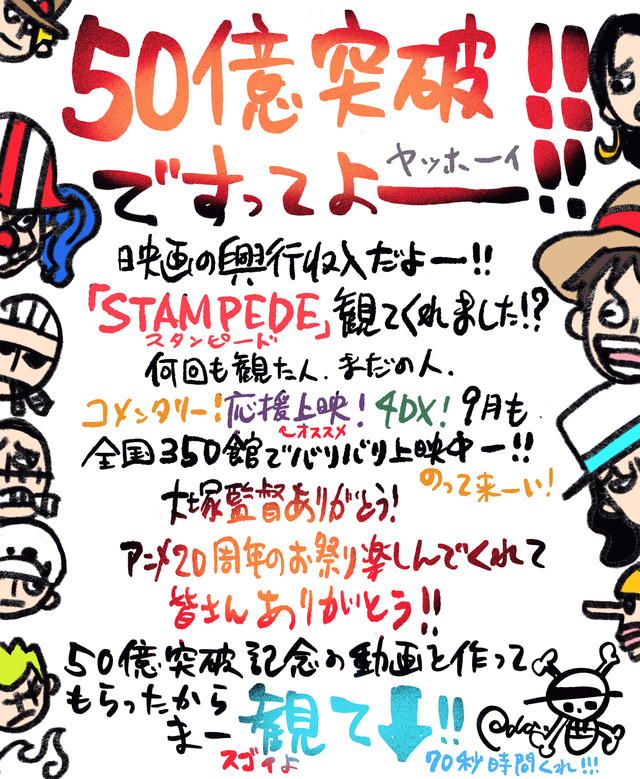 One Piece: Stampede box office Oda comment