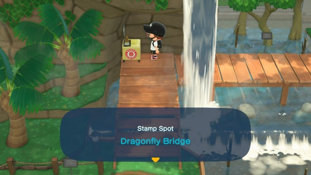 Animal Crossing: New Horizons Stamp Rally: Dragonfly Bridge Stamp Station