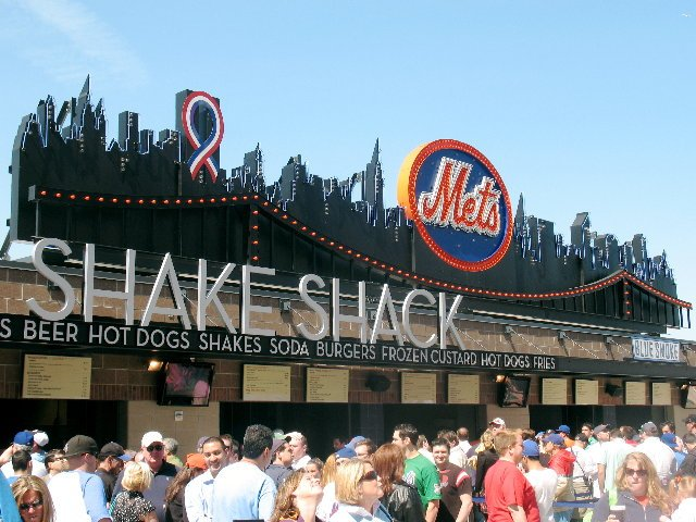The skyline over the Shake Shack is a memento of Shea Stadium.  The shakes are good too.