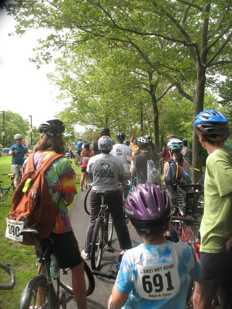 Bikes Not Bombs Bike A Thon The mile riders prepare to