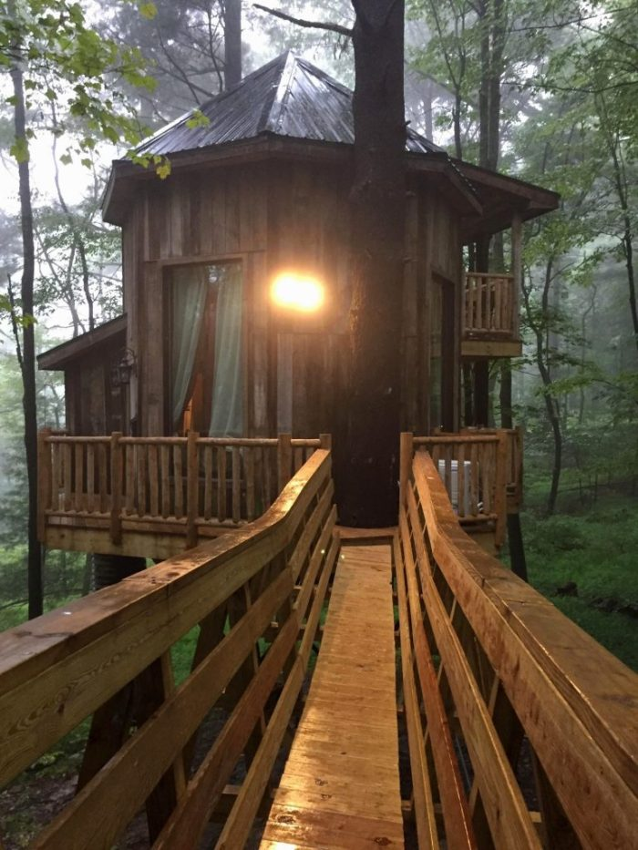 Luxurious family glamping at The Mohicans Treehouse in Glenmont, Ohio.