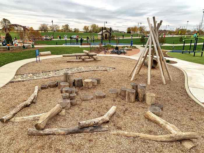 Fun at Heritage Park in Homer Glen including a ninja course, scarecrows, nature playscape, pet-friendly walking path, and more!