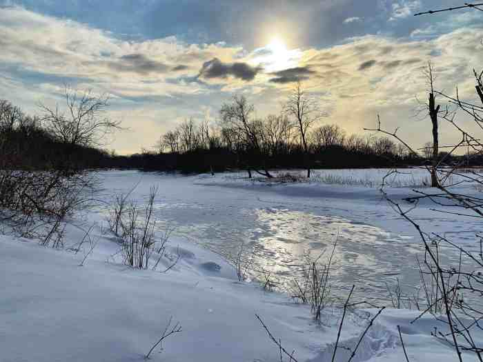 A fun winter hike at River Trail Nature Center. Find animals, trails, and prime viewing of River Trails Nature Center.