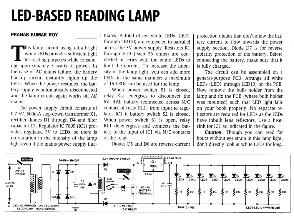 medium resolution of 3 watt ac 10 led reading lamp circuit