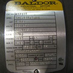 Wiring Diagram For Capacitor Three Prong Switch 7 1/2 Hp 3 Phase Baldor Motor?