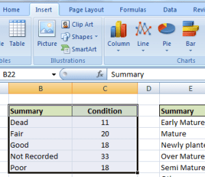 TreeSafety excel chart 1