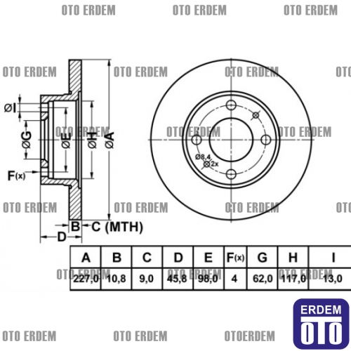 Fiat Uno 60 Ön Fren Diski MGA (Takım) 4208311 » Oto Erdem