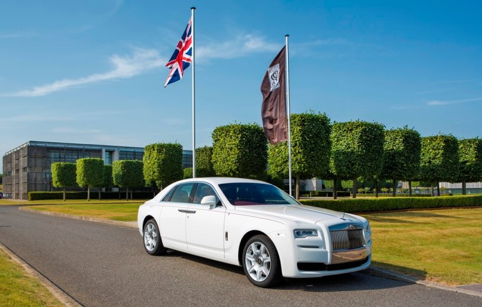 A white Ghost made for a client to mark the 50th anniversary of the state of Singapore photographed at Rolls-Royce Motor Cars, Goodwood, West Sussex. Picture date: Wednesday July 1, 2015. Photograph by Christopher Ison © 07544044177 chris@christopherison.com www.christopherison.com
